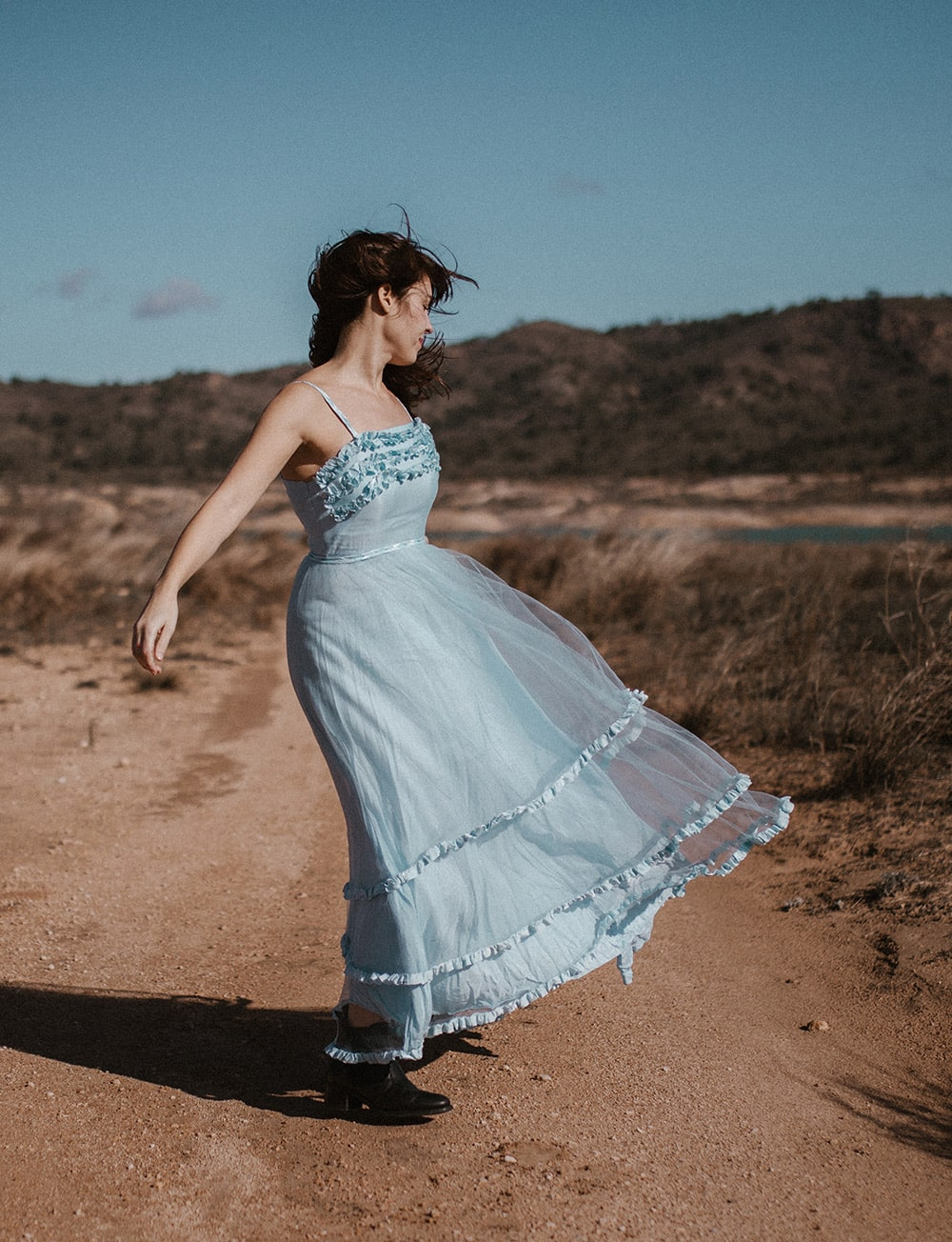 Novia vestida de azul